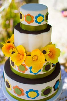 orange, yellow, green, poppies wedding cake