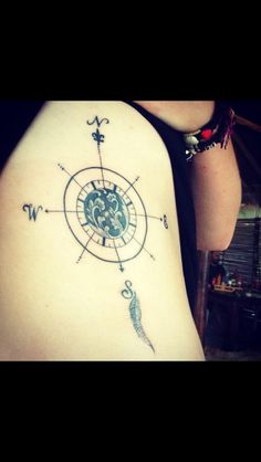 Gorgeous compass rose tattoo. I love this with something different in the middle.