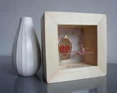 Small shadow box framed art with suspended Origami 3D bird and cage detail  ETSY