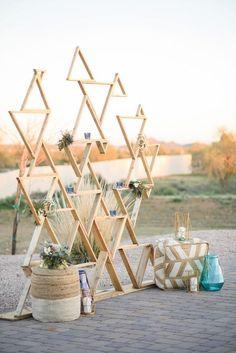 Geometric Backdrop|Modern Southwestern Wedding in Serenity & Rose Quartz