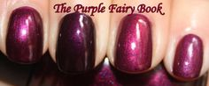 The Purple Fairy Book: Nails Inc. Regents Palace *Edited* + comparison, Here is Regents' Palace on the middle finger, China Glaze Cowgirl Up on the pointer (on the left), OPI Diva of Geneva on the ring finger and Nubar Vital with top-coat on the pinkie.