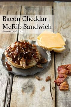 BBQ Rib Sandwiches with crispy bacon and cheddar cheese. ohsweetbasil.com