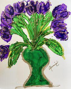 """Purple Hearts"" Lovitude Soul Painting by Annie Pryor"