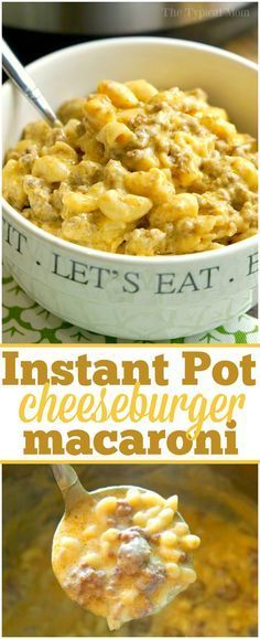 This Instant Pot cheeseburger macaroni recipe will take you back to your childhood! Just 10 minutes in your pressure cooker for this cheesy pasta dish. via /thetypicalmom/ (Instant Recipes Products) Pressure Cooking Recipes, Slow Cooker Recipes, Crockpot Recipes, Hamburger Recipes, Instant Recipes, Instant Pot Dinner Recipes, Instant Pot Meals, Instant Pot Pasta Recipe, Cheese Burger