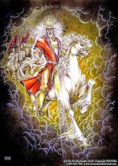 REVELATION 19:11-16:::TO ALL THE NATIONS. YOUR WORLD IS FALLING:::CHRIST ON A WHITE HORSE:::Now I saw heaven opened, and behold, a white horse. And He who sat on him was called Faithful and True, and in righteousness He judges and makes war. His eyes were like a flame of fire, and on His head were  many crowns. He had a name written that no one knew except Himself. He was clothed with a dipped in blood and His name is called The Word of God. And the armies in heaven, clothed in the line…