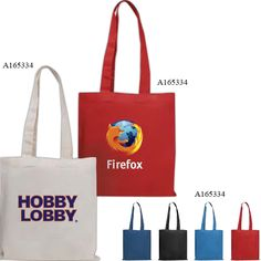 """Carry your business far when your logo's imprinted on this colorful tote! Designed in our quality cotton sheeting and sized to hold tradeshow or meeting handouts, padfolios or magazines. Perfect for fundraisers, school conferences and career fairs! Your valued customers will enjoy the practical carrying convenience of a reusable tote. 12W x 12.5H with sturdy elongated 24"""" handles means plenty of room for books and catalogs. Always stocked. New size."""