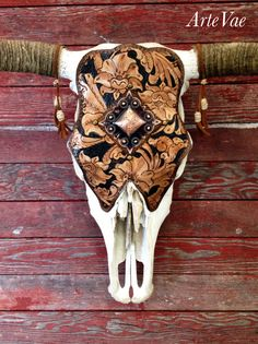 Steer skull tooled and designed by Tamra at ArteVae