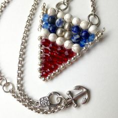 Nautical Flag Necklace Red White Blue Gemstones Little Anchor Charm