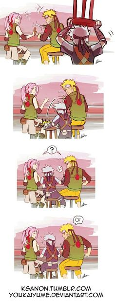 Sakura, Naruto, Kakashi, young, child, funny, comic; Naruto