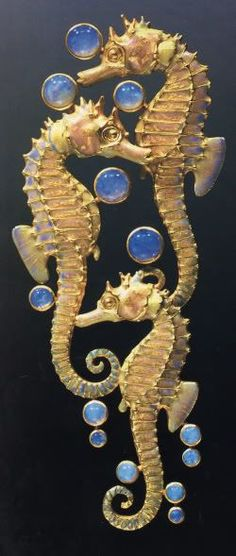 Three Seahorses Brooch - Chased Gold, Plique-A-Jour Enamel And Opals By Rene Lalique  c.1902-1903