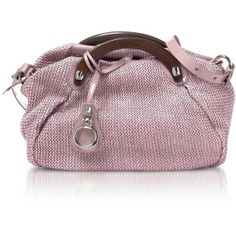 Francine - Pink Knit Rafia Satchel Bag w/ Wooden Handles - Francesco... ($190) ❤ liked on Polyvore