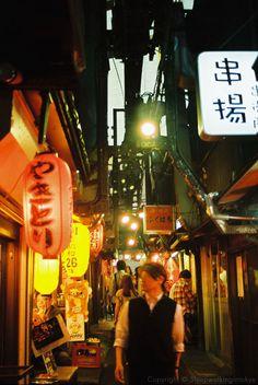 OmoideYokocho (思い出横町)in Shinjuku (新宿)is a narrow lane crammed with lots of yakitori stalls.
