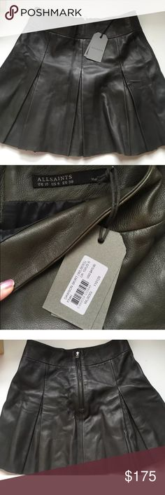 All Saints Leather Mini Skirt - NWT Olive Green Relisting due to buyer falling through. All Saints Dawson Pleated Leather Miniskirt - NWT. Wrong color for me - khaki green tone. Size US 6. Incredibly cute and perfect for fall! Bought in NYC store. Retailed for $415 as seen on tag. 29 1/2 inch waist All Saints Skirts Mini