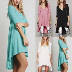 ZANZEA UK 8-26 Women V Neck Casual Loose Tops Shirt Blouse Tunic Boho Dress Plus