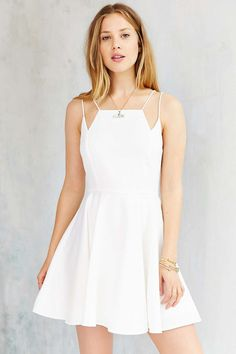 Silence + Noise Square-Neck Strappy Skater Dress - Urban Outfitters