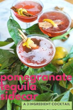 This Pomegranate Tequila Sidecar is a gorgeous plum-colored cocktail for fall made with three simple ingredients, añejo tequila, Pomegranate, and cognac. #sidecar #cocktail #tequila #pomegranate