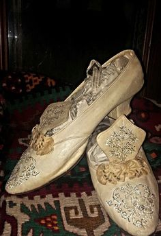 Embroidered woman's shoes.  Late-Ottoman urban fashion, ca. 1925.  Probably from the Bursa area.  Leather, silk, metallic thread.  (Source: Ismail Antik, Bursa).