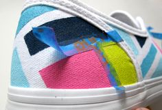 DIY sneaker makeovers: Graphic stripes on white canvas sneakers from What I Wore