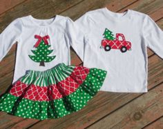 Brother and Sister Christmas Set - Girls Tiered Skirt with Christmas Tree Appliqued Shirts