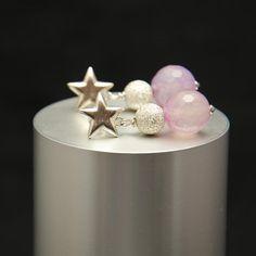 Pendientes de estrella de plata y agatas rosas