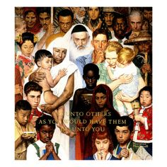 Golden Rule (Do unto others) Saturday Evening Post Cover, April Giclee Print by Norman Rockwell Norman Rockwell Prints, Norman Rockwell Paintings, Peintures Norman Rockwell, The Saturdays, Saturday Evening Post, We Are The World, Caricatures, American Artists, Illustrators