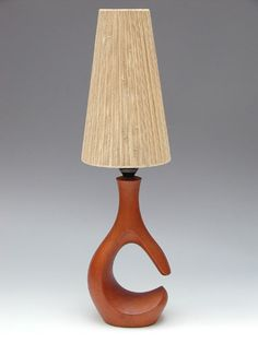Søren Ib; Sculpted Wood Table Lamp, 1950s.