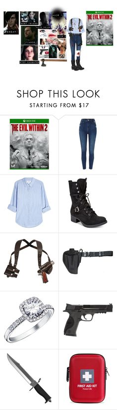 """The Evil Within 2 OC: Emmaline Hathaway"" by cocorodoll ❤ liked on Polyvore featuring Velvet, American Rag Cie, Holster, Smith & Wesson, Whetstone Cutlery, Handle and Ragnar"