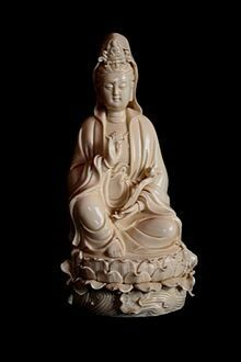 Guanyin Bodhisattva made by He Chaozong, a famed artist from the Ming dynasty who fashioned mainly Buddhist white porcelain statuary in the tradition of the Dehua kilns in Fujian province. Guanyin, White Porcelain, Pottery Art, Buddha, Sculpture, Statue, 17th Century, Oriental, Ceramics