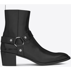 Saint Laurent Classic Wyatt 60 Harness Boot ($940) ❤ liked on Polyvore featuring men's fashion, men's shoes, men's boots, mens harness boots, mens zip boots, yves saint laurent mens boots, mens zipper boots and yves saint laurent mens shoes