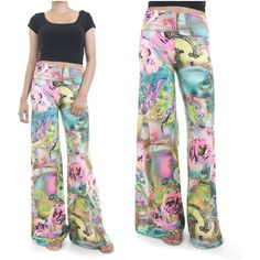 ebclo - Comfy Colorful Floral Print All-Over Wide Leg Pants Long Trousers New #ebclo #CasualPants $19.00 Free Domestic Shipping