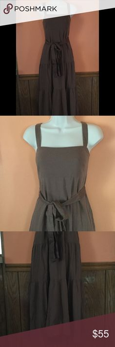 """Anthropologie Maeve Brown Maxi Dress Length- 55"""". Bust area across front- 18"""". Waist area across front- 16"""". Fully lined. Has a side zipper. Silk and cotton blend. Anthropologie Dresses Maxi"""