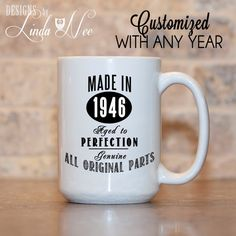 MUG ~ Made in 1956 Aged to Perfection GENUINE All Original Parts ~ 60th Birthday Mug ~ 50th Birthday ~ 40th Birthday ~ 70th Birthday ~ 80th