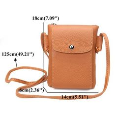 Women Vintage 6inch Phone Bag PU Leather Outdoor Light Shoulder Bags Crossbody Bags