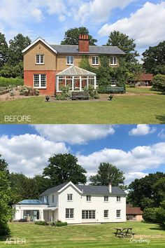 Fresh, white render, new windows and a light and bright orangerie have all played a part in this stunning Back to Front Exterior Design transformation. From a pebbledash and red brick exterior with a dated conservatory, to a clean, simple and contemporary design. Click to see more transformations > #exteriordesign #renovation #remodelling #hometransformation Home Building Design, Building A House, House Design, Exterior Paint, Exterior Design, Red Brick Exteriors, Rendered Houses, How To Clean Brick, Home Exterior Makeover
