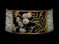 Collier de Chien aus Gold, Email, Perlen und Diamanten – Henri Vever, um 1900.