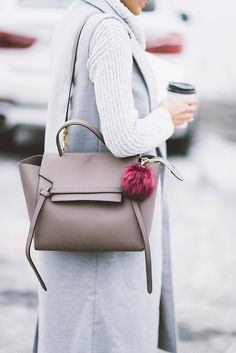 DETAILS: GREY KNIT TURTLENECK DRESS (ON SALE!) | PLAID SCARF (SIMILAR HERE) | OVER-THE-KNEE BOOTS (ON SALE) | CELINE BAG – SIMILAR HERE | LOVE THIS ONE UNDER $200) | BAG POM | LONG GREY VEST …
