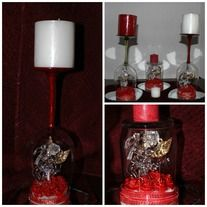 """This valentine centerpiece comes as a set of two candle holder with votive candles  or a hurricane centerpiece with a pillar candle both sit on a  4""""  heart-shaped table mirrors:  The wine glass candle holders come with either a red stem or a clear stem.  Under the dome  are red and white ribbon ..."""