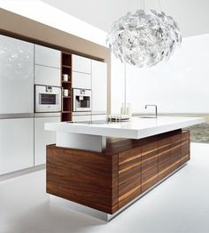 Wooden kitchen with island by TEAM 7 Natürlich Wohnen design Kai Stania Solid Wood Kitchens, Wooden Kitchen, Kitchen And Bath, Space Kitchen, Kitchen Island, Kitchen Cabinets, Modern Kitchen Design, Modern Interior Design, Kitchen Furniture