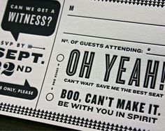 "Creative Ways to RSVP - Modern Maven- I really like the ""can we get a witness?""...I'm sure Liz and shan agree"