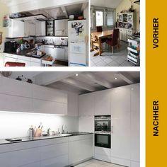 """Vorher - Nachher: Neugestaltung einer Küche. Das Ergebnis ist ein moderner Lebensraum mit weißen Hochglanzfronten und einer dunklen Arbeitsplatte. Neben den Hochschränken bieten die Schubladen viel Stauraum - ein """"Space-Step"""" ermöglicht es außerdem, die oberen Fächer der Hochschränke ohne großen Aufwand zu erreichen. Durch die große Bank wird die Küche gleichzeitig zum Verweilraum. #siggst #TischlereiSigg #MöbelNachMass #TischlereiAusHörbranz #MitLeidenschaft #AusTradition #InMaßarbeit… Kitchen Island, Kitchen Cabinets, Modern, Home Decor, Wood Windows, Countertop, Made To Measure Furniture, Carpentry, Closet Storage"""