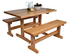 John Boos Maple Trestle Table & Benches for Casual Dining at http://butcherblockco.com