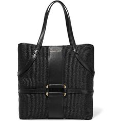 Alexander McQueen Padlock leather-trimmed raffia tote (775 AUD) ❤ liked on Polyvore featuring bags, handbags, tote bags, black, raffia tote bag, black tote, black handbags, black tote bag and raffia handbag