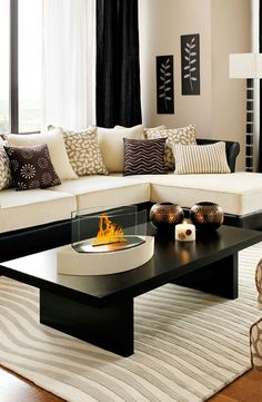 Love the decor and color along with the anywhere Fireplace - Lexington Tabletop Ethanol Fireplace in Beige