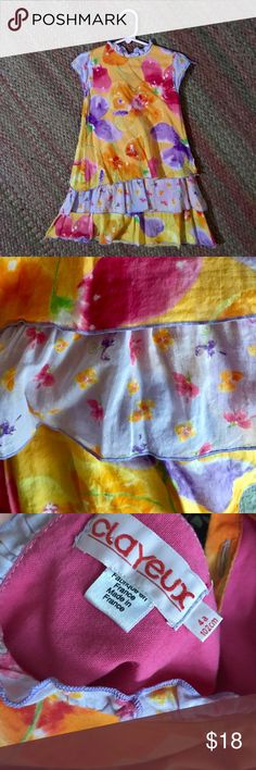 """Clayeux floral layered dress 102cm/4T Gorgeous party dress with three layers at the bottom in contrasting fabrics. Beautiful cotton and great colors. Designed and made in France. In great condition. Shoulder to hem: 22.5"""" Shoulder to shoulder: approx 10"""" Under arms: 12"""" Clayeux Dresses Casual Girls Sweater Dress, Baby Girl Sweaters, Dress With Cardigan, Fall Sweaters, Sweater Coats, Flattering Dresses, Casual Dresses, Pink Party Dresses, Britney Jean"""