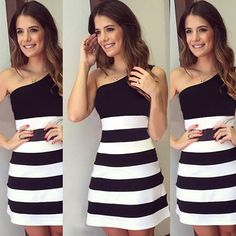 Show your charming style and sexy flavor through this dress. It is characterized by one-shoulder style,with backless design,sexy and elegant. Contrast color style,with striped spliced design. You would be charming and eye-catching in this dress