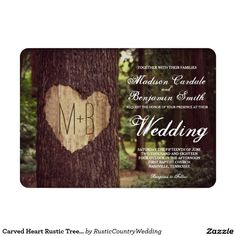 Carved Heart Rustic Tree Wedding Invitation Set with the bride and groom's initials carved into the tree. These are great for a rustic country wedding or nature themed wedding. Invite prices are OFF when you order Invites. Budget Wedding Invitations, Beautiful Wedding Invitations, Wedding Invitation Sets, Invitation Wording, Invites, Invitation Suite, Wedding Planner, Country Style Wedding, Country Weddings