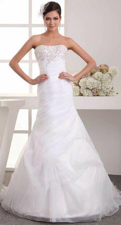 White Organza Sleeveless Court Train Ruched Appliques Wedding Dress