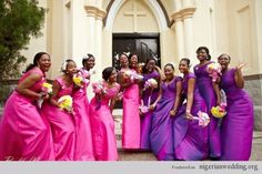 Nigerian Wedding Trends: Dark Orchid/ Wild Violet Bridesmaids Dress Color & Style Ideas | Nigerian Wedding