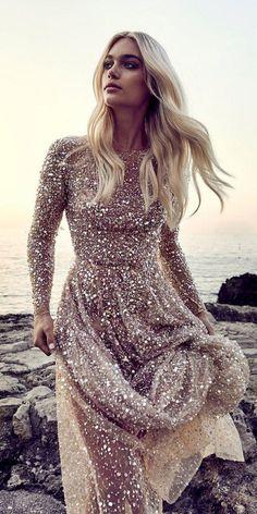 Long Sleeve Wedding, Wedding Dress Sleeves, Bridal Dresses, Wedding Gowns, Prom Dresses, Gold Wedding, Hair Wedding, Quinceanera Dresses, Glamour