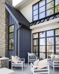 Grey Siding, Exterior Siding, Exterior Design, Exterior Paint, Modern Farmhouse Exterior, Modern Farmhouse Style, Modern Barn, Industrial Farmhouse, Farmhouse Plans